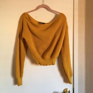 Mustard Off The Shoulder Cropped Knitted Sweater